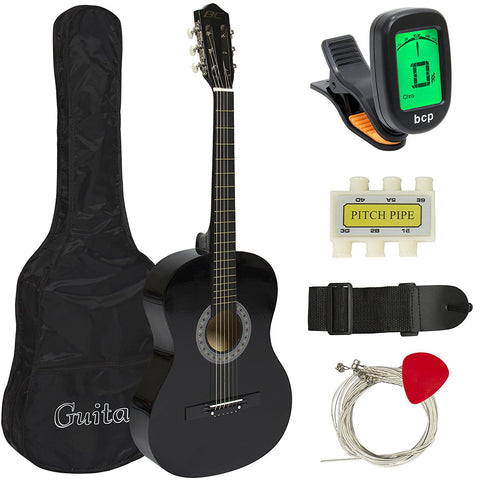Beginners 38'' Acoustic Guitar with Case, Strap, Digital E-Tuner, and Pick