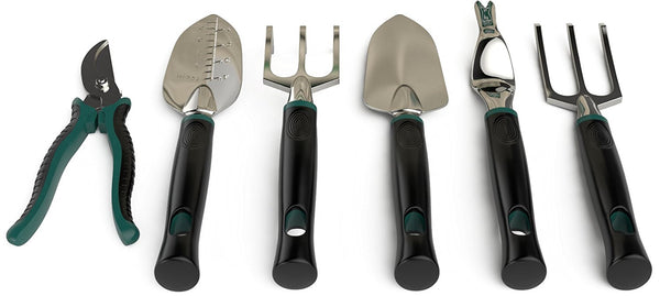 6 piece gardening tool set with tote bag
