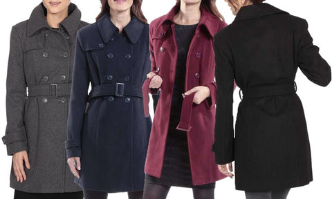 Alpine Swiss Keira Women's Wool Double-Breasted Belted Trench Coats