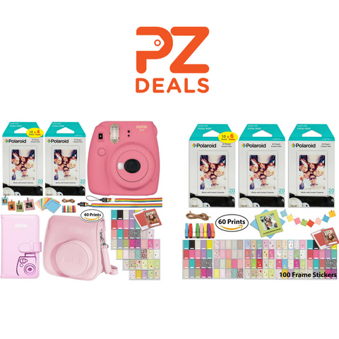 Fujifilm Instax Mini 9 Instant Camera With 2 x Twin Pack Instant Film And Accessory Bundle