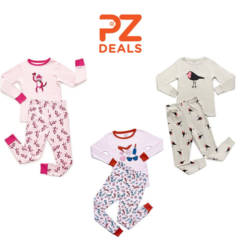 Leveret girls 2 piece 100% cotton pajama sets