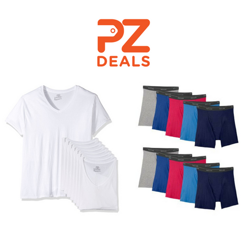 Pack of 7 Hanes T-Shirts or Pack of 10 Fruit of the Loom Boxer Briefs on sale