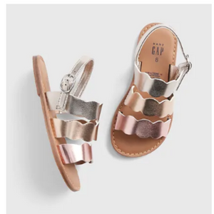Toddler Scalloped Metallic Sandals