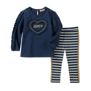 Juicy Couture Baby Ruffle Heart Top & Stripe Leggings