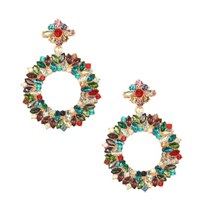 Multicolored Stone Drop Hoop Earrings