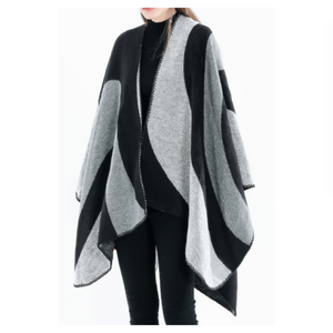 Women's Color Block Poncho