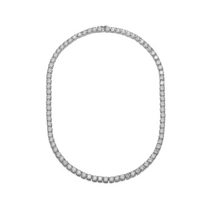 Rozzato Rhodium Plated Clear Round Cubic Zirconia 4mm Tennis Necklace