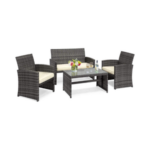 Goplus 4-Piece Rattan Patio Furniture Set (Mix Gray)