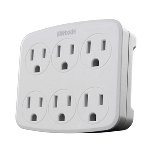 Woods Wall Adapter with 6 Grounded Outlets