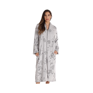 BUY ONE GET ONE FREE! Floral Jaquard Plush Women's Zipper Robes With Pockets (6 Colors)