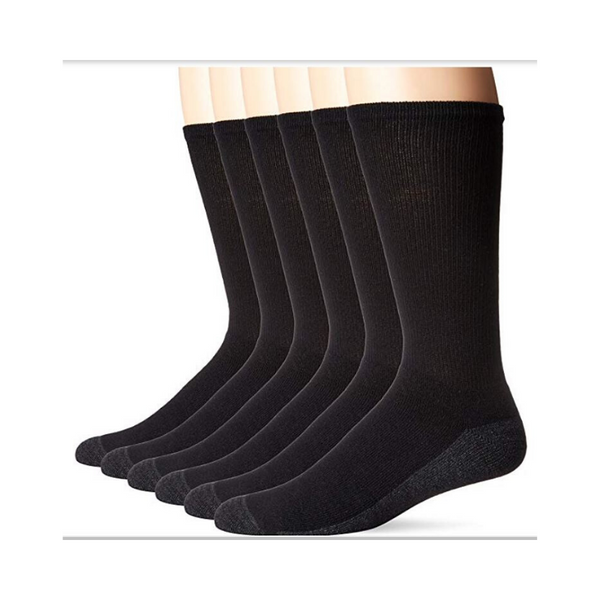 6 Pack Of Hanes Men's ComfortBlend Max Cushion Crew Socks