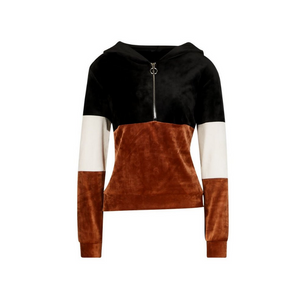 Velour Ring Pull Ring Colour Block Hoody