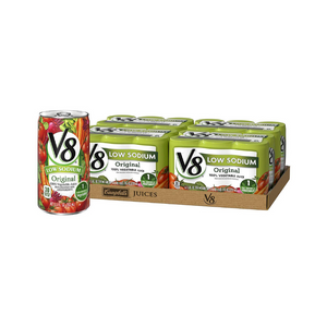 24 Cans Of V8 Low Sodium Original 100% Vegetable Juice