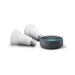 Echo Dot (3rd Gen) with 2-Pack Philips Hue White A19 Smart Bulbs