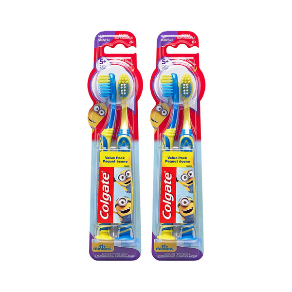 4 Pack Of Colgate Kids Minions Toothbrushes