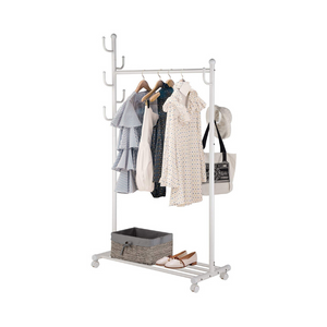 2-in-1 Rolling Garment Rack with Bottom Shelves