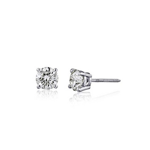 AGS Certified 14K Gold Brilliant Cut Diamond Stud Earrings