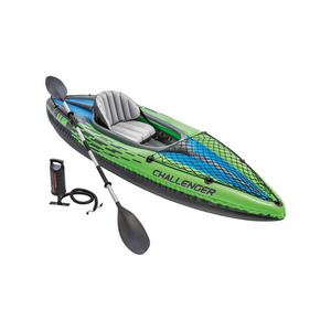 Intex Challenger K1 1-Person Inflatable Kayak Set w/ Oars and Pump