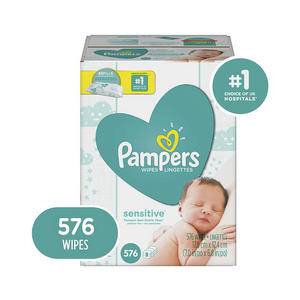 Pack Of 576 Pampers Sensitive Baby Wipes