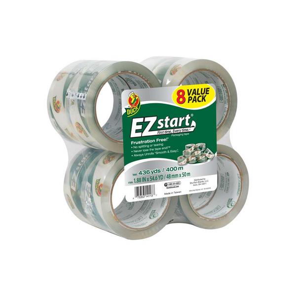 8 Rolls Of Duck Brand EZ Start Packing Tape