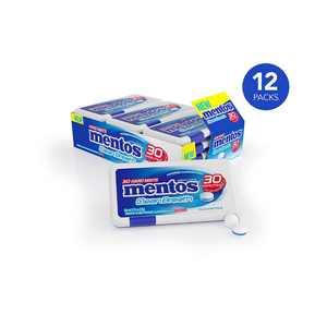 Pack of 12 Mentos Clean Breath Hard Mints Sugar Free Candy, Peppermint