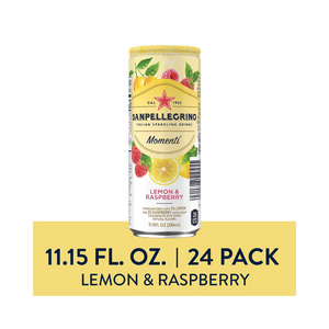 24 Sanpellegrino Momenti Lemon & Red Raspberry Cans