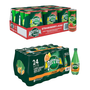 24 Cans Or Bottles Of Perrier Pineapple, Mango, Lemon, Peach And More Juice Drinks