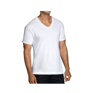 12-Pack Fruit of the Loom Men's Dual Defense White V-Necks