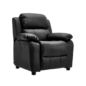 JC Home Kids Deluxe Padded Leather Recliner with Storage Arms