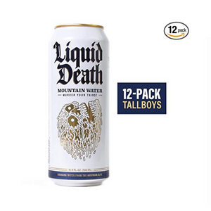 Liquid Death Mountain Water, 16.9 oz Tallboys (12-Pack)