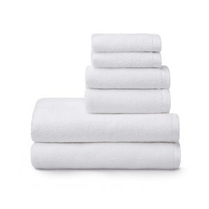 Welhome Franklin 100% Cotton Textured Towel (White) - Set of 6