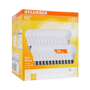 24 Pack Of Sylvania 60W Equivalent LED Soft White Light Bulbs