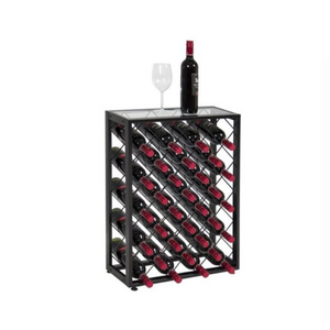 32-Bottle Wine Rack Liquor Storage Cabinet w/ Glass Table Top