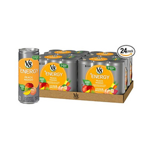 24-Pack of 8oz V8 +Energy Drink (Peach Mango or Black Cherry)