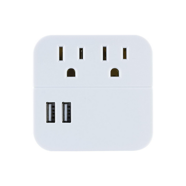 GE Pro 2-Outlet + 2 USB Surge Protector Tap
