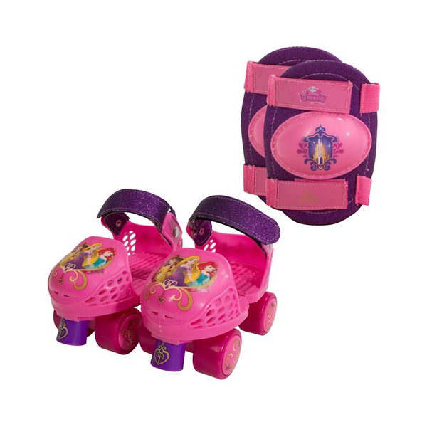 Disney Princess Kids Roller Skates with Knee Pads