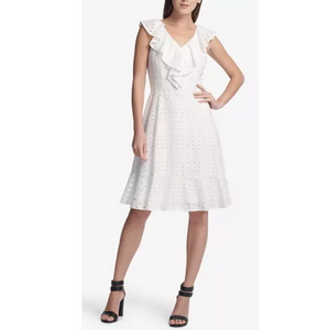 DKNY Ruffle Eyelet A-Line Dress