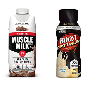 16 Bottles Boost Optimum Nutritional Drink And 12 Bottles Muscle Milk Genuine Protein Shake