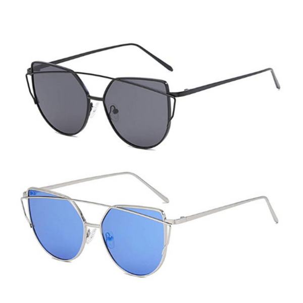 Cat Eye Mirrored Flat Lenses Metal Frame Sunglasses (10 Styles)