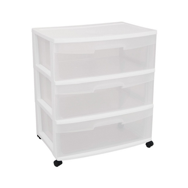Sterilite Wide 3 Drawer Cart with Clear Drawers