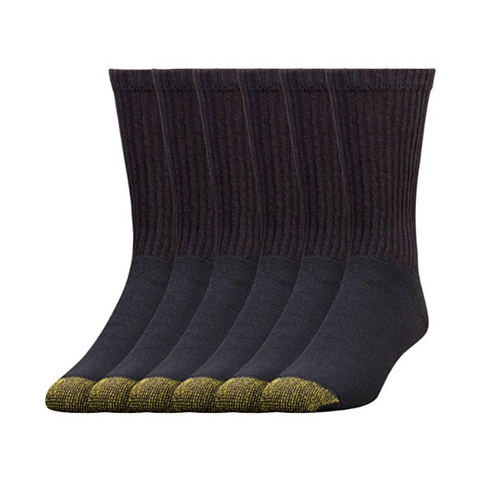 Pack of 6 men's Gold Toe cotton athletic crew socks