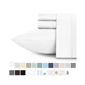 400-Thread-Count 100% Cotton Sheet Pure White Queen-Sheets Set