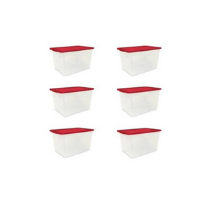 Set Of 6 Mainstays 64 Quart Clear Totes
