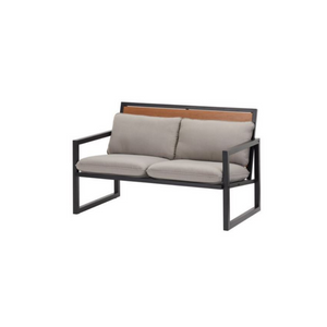 Mainstays Lindholm Way Patio Loveseat with Gray Cushions
