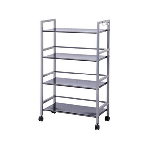 4-Tier Shelving Unit Kitchen Rack Storage Cart with Easy Moving Wheels