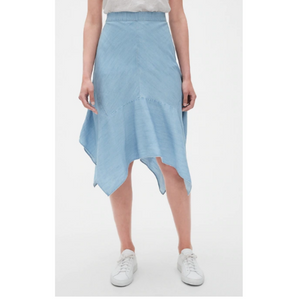 Denim Handkerchief Midi Skirt