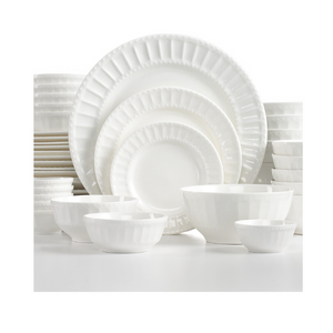 42 Piece Gibson White Elements Dinnerware Set (4 Styles)