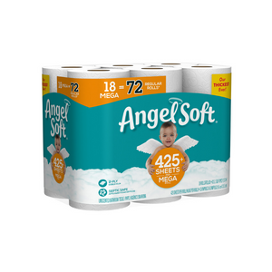 18 Mega Rolls Angel Soft Toilet Paper