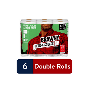 6 Double Rolls Of Brawny Tear-A-Square Paper Towels