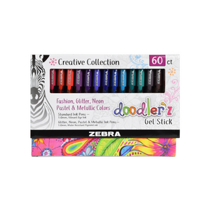 Zebra Pen Doodlerz Gel Stick Pen Mega Set, 60 Assorted Colors
